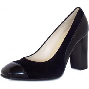 Sorana Black Patent And Suede Block Heel Pumps