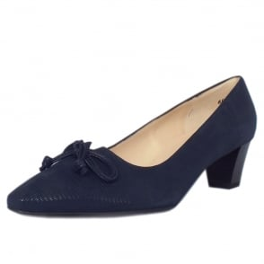 Stephanie Navy Lizard Suede Mid Heel Pointy Pumps
