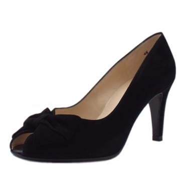 Stila Ladies Peep Toe Shoes in Black Suede
