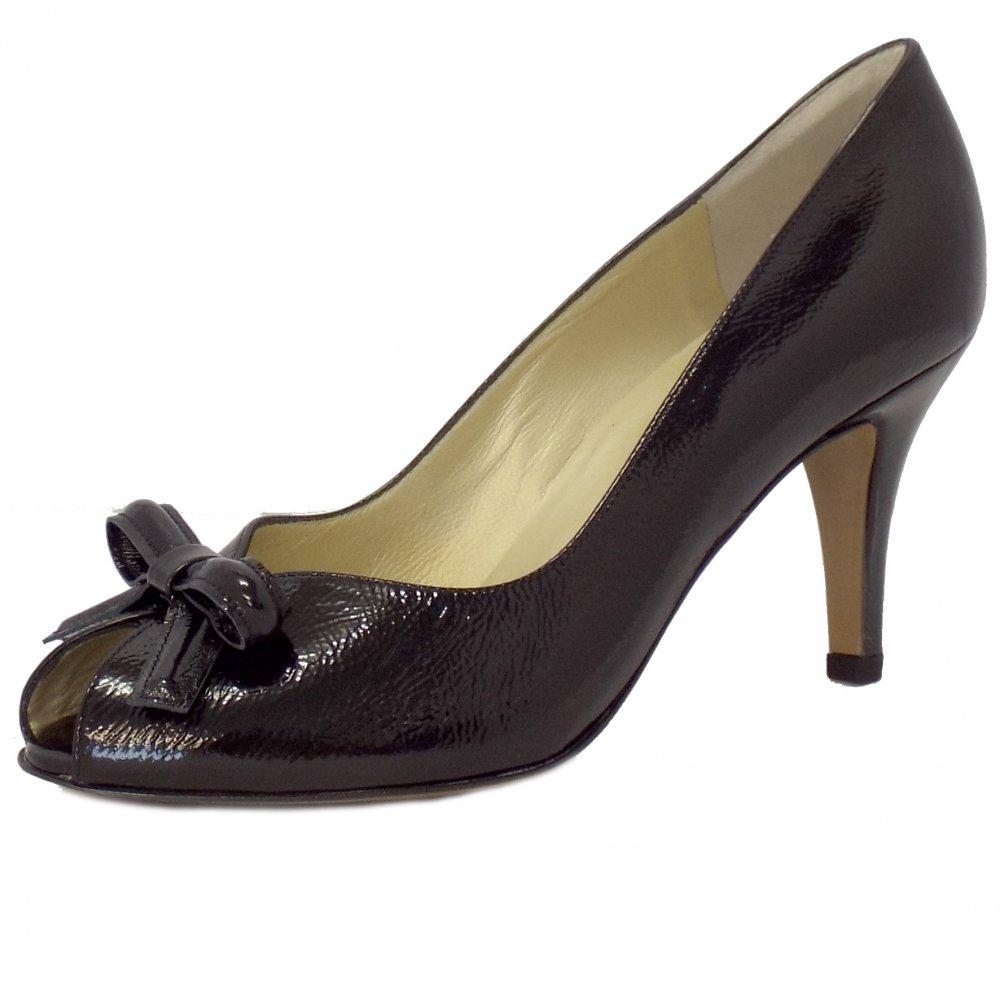 kaiser suomi black patent high heel peep