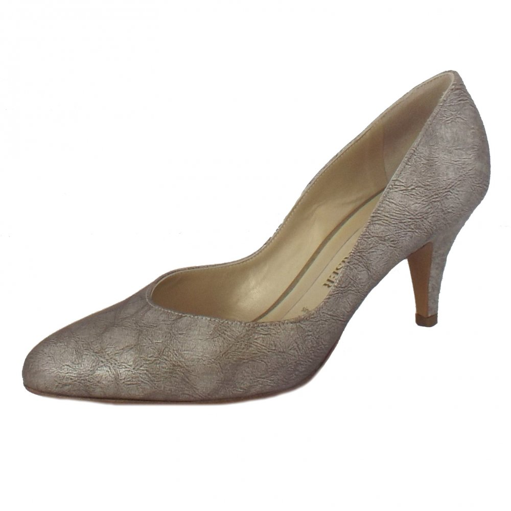 Peter Kaiser Susa | Metallic Leather Court Shoes | Mid Heel