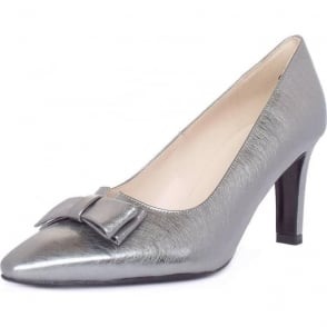 Tanja Steel Graffiti Silver Brushed Effect Leather Pumps