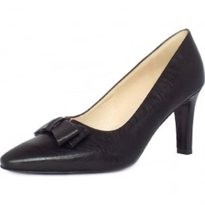 Tanja Women's Dressy Court Shoes in Brushed Effect Black Leather Finish