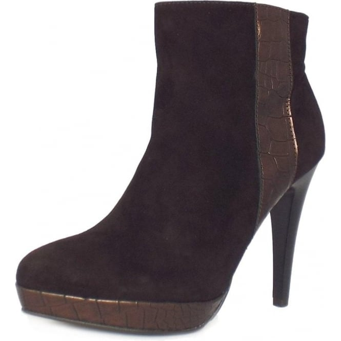 Tissi nuba brown suede high heel ankle boots