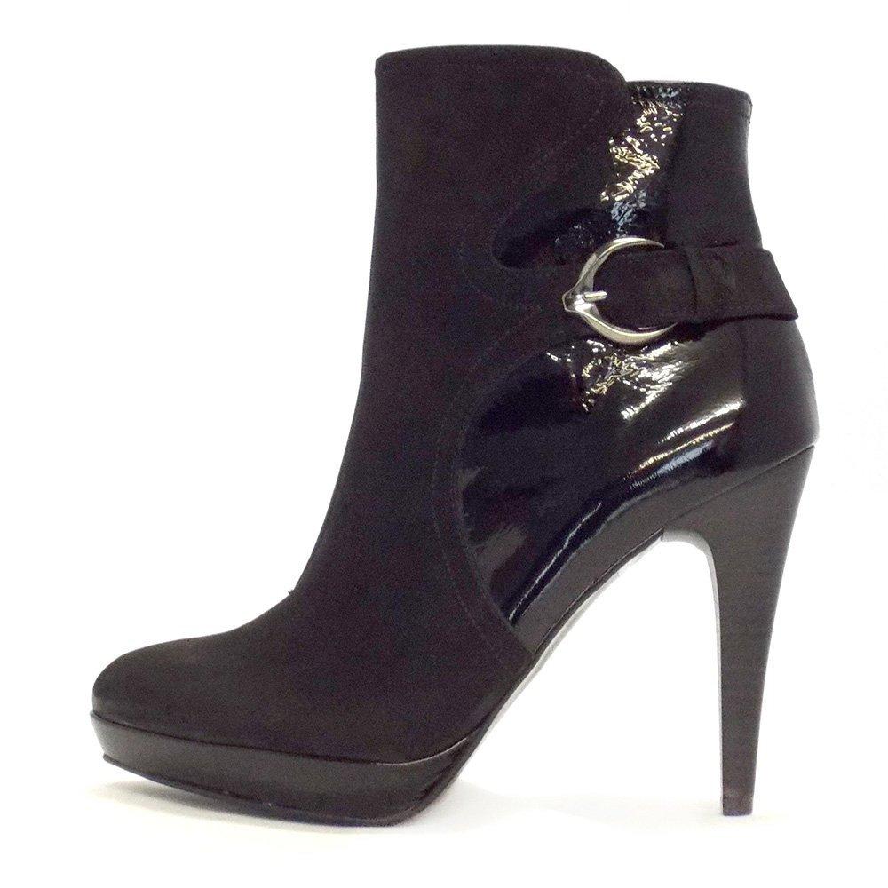 kaiser tokata black nubuck stiletto heel ankle boots