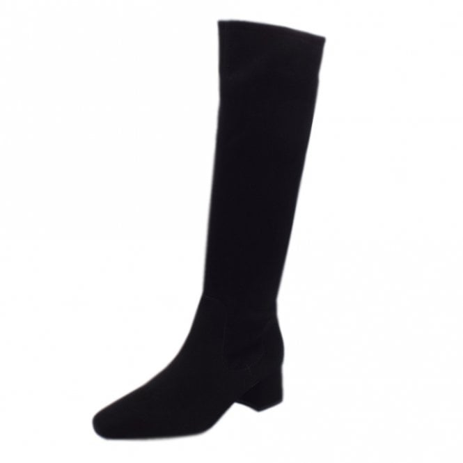 Tomke Black Suede Stretch Pull On Boots