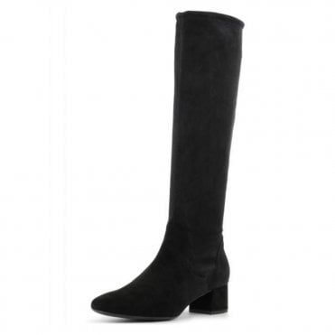 Tomke Pull On Stretch Knee High Boots in Black Suede