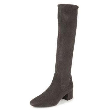 Peter Kaiser Tomke Pull On Stretch Knee High Boots in Carbon Suede