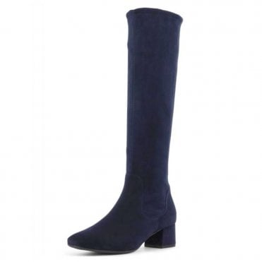 Tomke Pull On Stretch Knee High Boots in Navy Suede