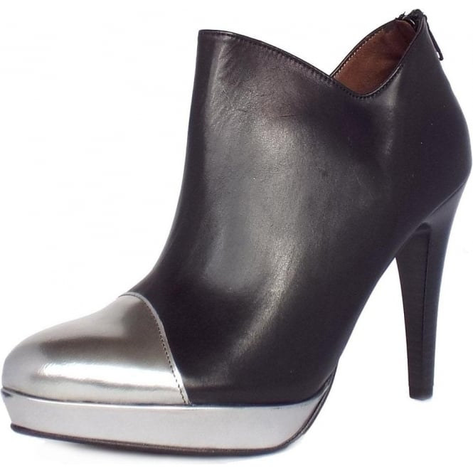 Toria High Heel Ankle Boots in Black Leather and Metallic