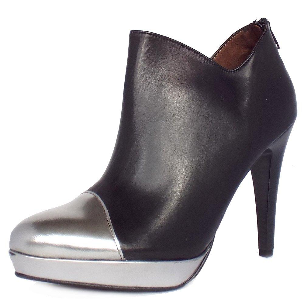 toria high heel ankle boots in black metallic leather peter kaiser. Black Bedroom Furniture Sets. Home Design Ideas