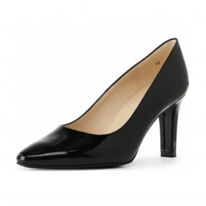 Tosca classic pointy toe black patent court shoes