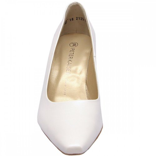 Peter Kaiser Tosca | White leather mid heel pumps | Bridal