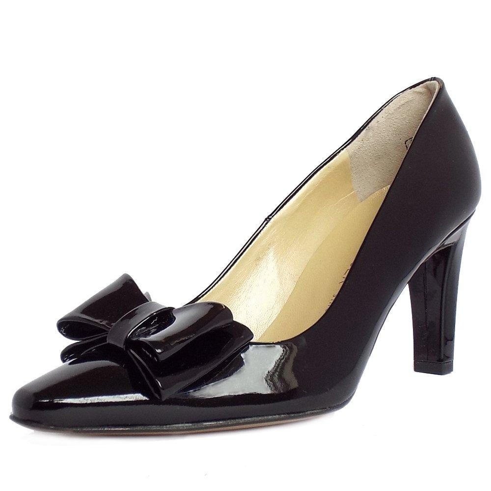 Black Patent Leather Ladies Court Shoes