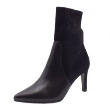 Uda Fashion Ankle Sock Boot in Black Glove Suede