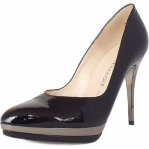 Vanessa Black Patent and Metal Trim Evening Stiletto Pumps
