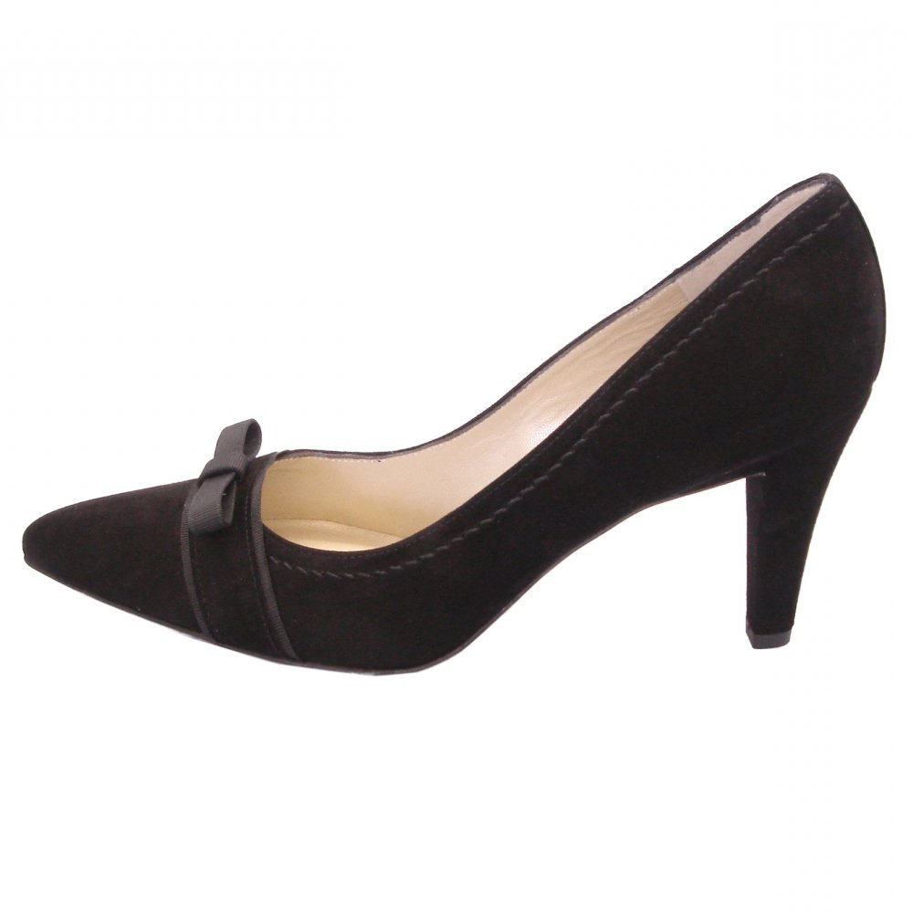 kaiser vermala black suede mid heel sourt shoes