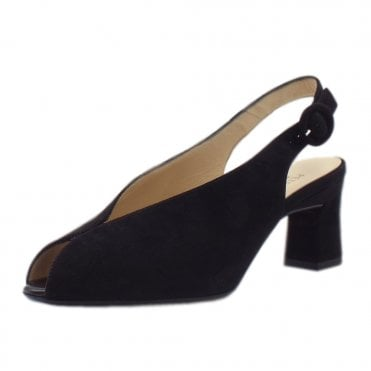 Veronique Dressy Mid Heel Slingback in Black Suede
