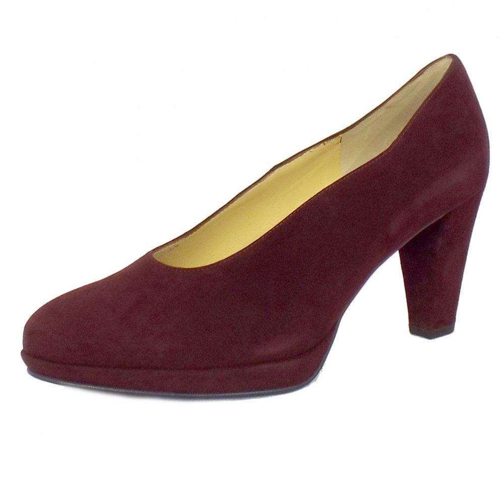 Peter Kaiser Violetta | Ladies Classic Court Shoes in Dark Red Suede
