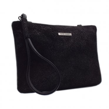 Waida Black Asterisk Suede Small Clutch Bag