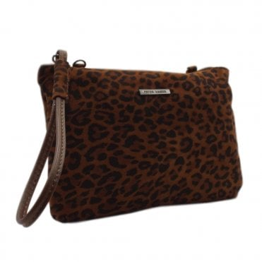 Waida Leopard Suede Small Clutch Bag