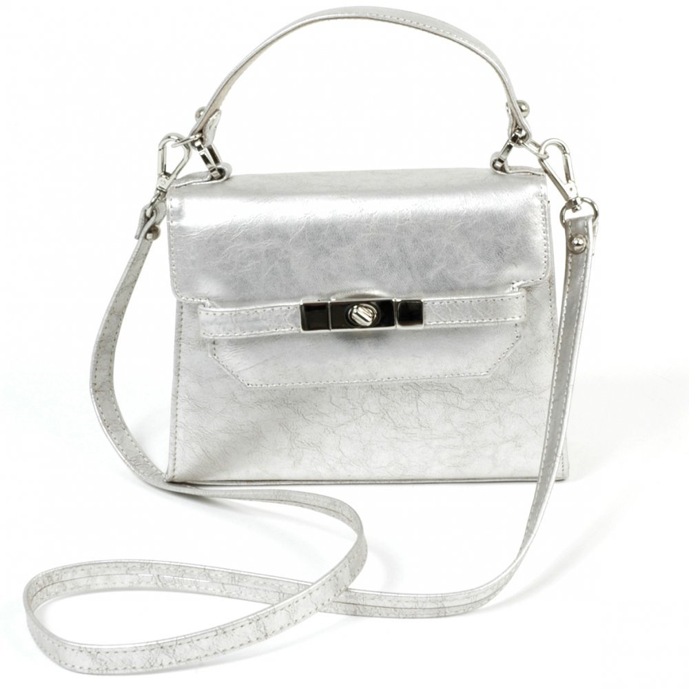 Silver leather tote bag uk - Weike Silver Leather Evening Handbag