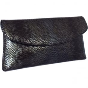 Winema Clutch Bag in Black Snake Print Leather