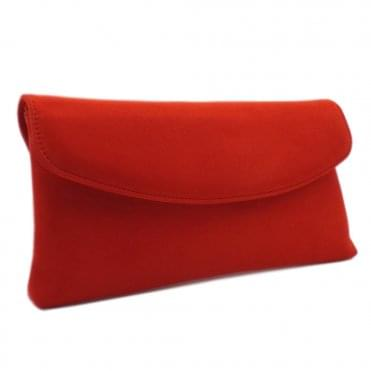 Winema Coral Red Brasil Suede Clutch