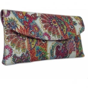 Winema Multi Paisli Leather Clutch
