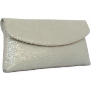 Winema White Gold Suede Clutch