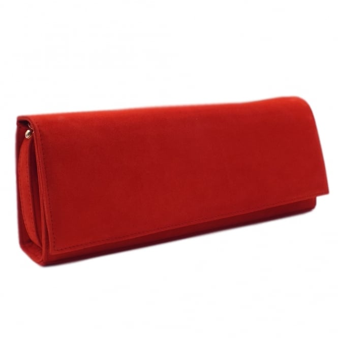 Winifred Coral Red Brasil Suede Evening Bag