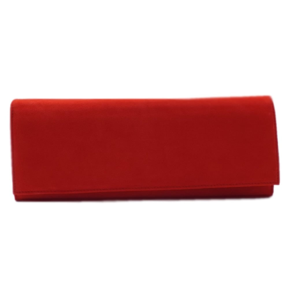 82215491247 Peter Kaiser UK   Winifred Coral Red Suede Leather Clutch