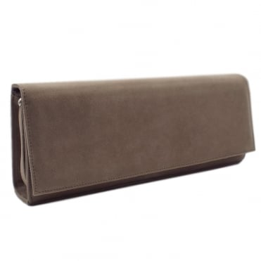 Winifred Taupe Suede Evening Bag