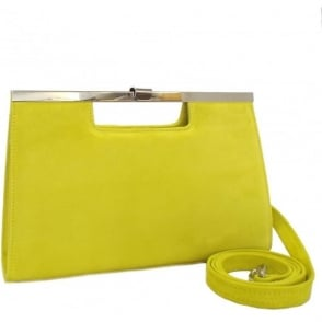 Wye 14 Clutch Bag in Lemon Suede