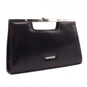Wye Black Leather Stylish Clutch Bag