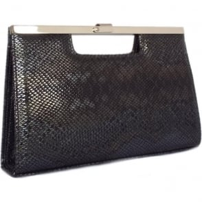 Wye Black Logger Snake Effect Leather Evening Bag