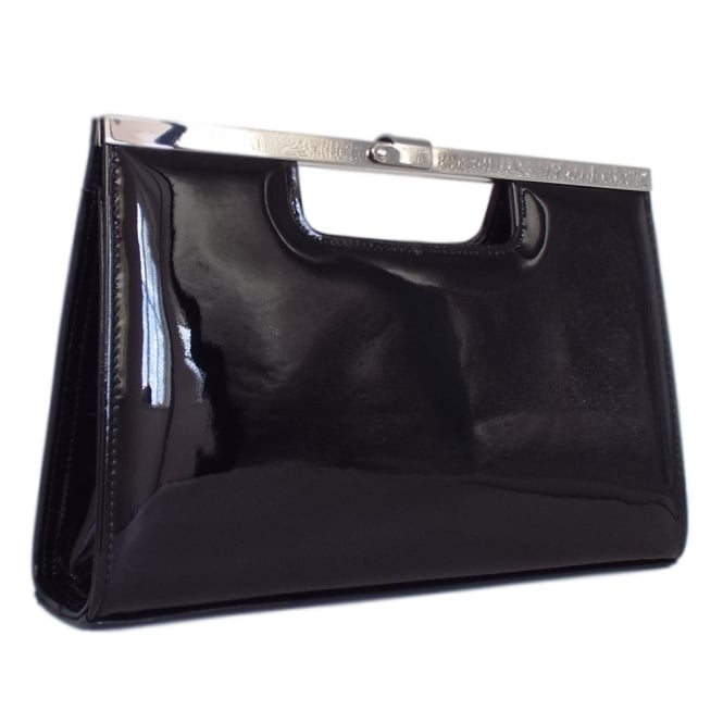 Wye Black Patent Leather Evening Clutch Bag