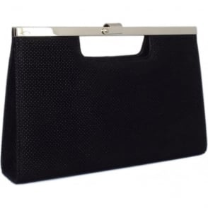 Wye Black Speckle Suede Evening Clutch Bag