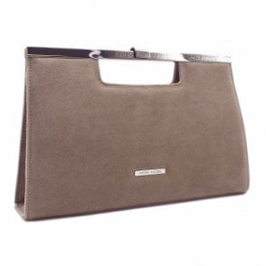 Wye Classic Occasion Clutch Bag in Taupe Suede