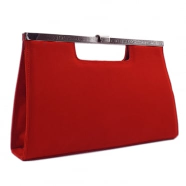 Wye Coral Red Suede Evening Clutch Bag