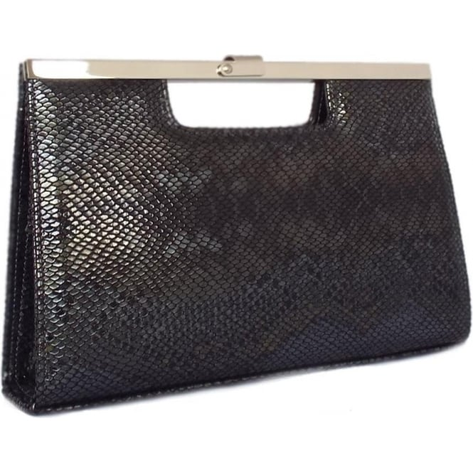 Wye Evening Clutch Bag In Black Snake Print Leather