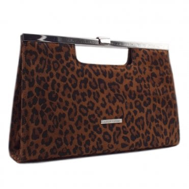 Wye Leopard Suede Evening Clutch Bag