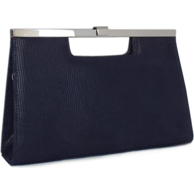 Wye Navy Lizard Suede Evening Clutch Bag