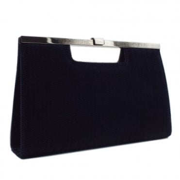 Wye Navy Trama Evening Clutch Bag
