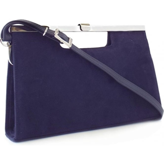 Wye Notte Navy Suede Evening Clutch Bag