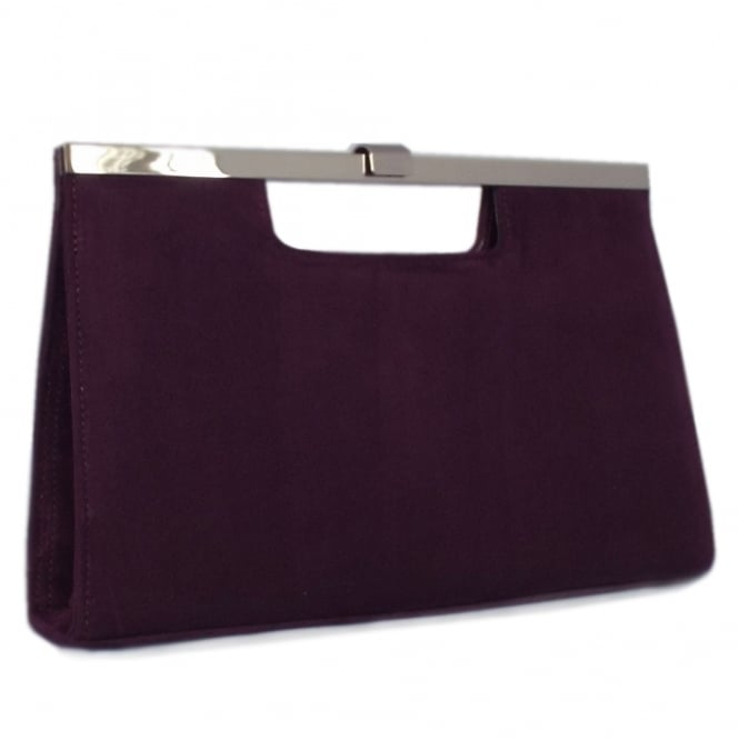 Wye Plum Suede Evening Clutch Bag