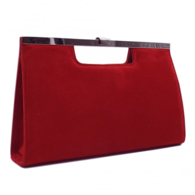 Wye Red Suede Evening Clutch Bag