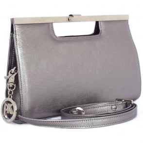 Wye Silver Bovi Metallic Leather Clutch