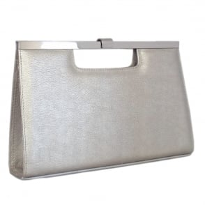 Wye Silver Furla Leather Evening Clutch Bag