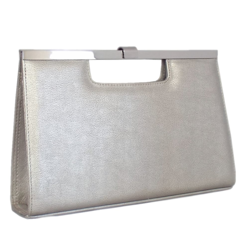 Silver leather tote bag uk - Wye Silver Furla Leather Evening Clutch Bag
